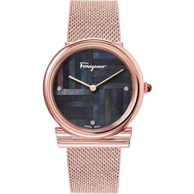 Salvatore Ferragamo Gancino Slim Mesh Strap Watch,