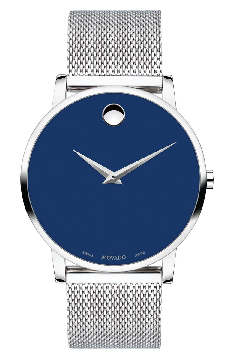 MOVADO Museum Mesh Bracelet Watch, 40mm, Main, color, SILVER/ BLUE/ SILVER