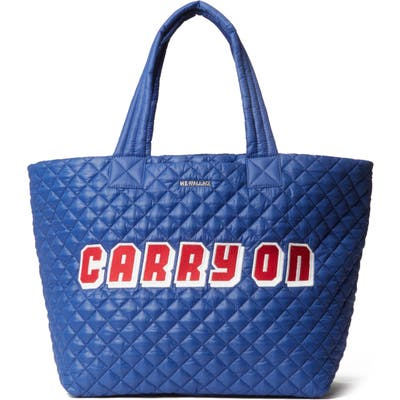 Mz Wallace Large Metro Quilted Nylon Tote - Blue