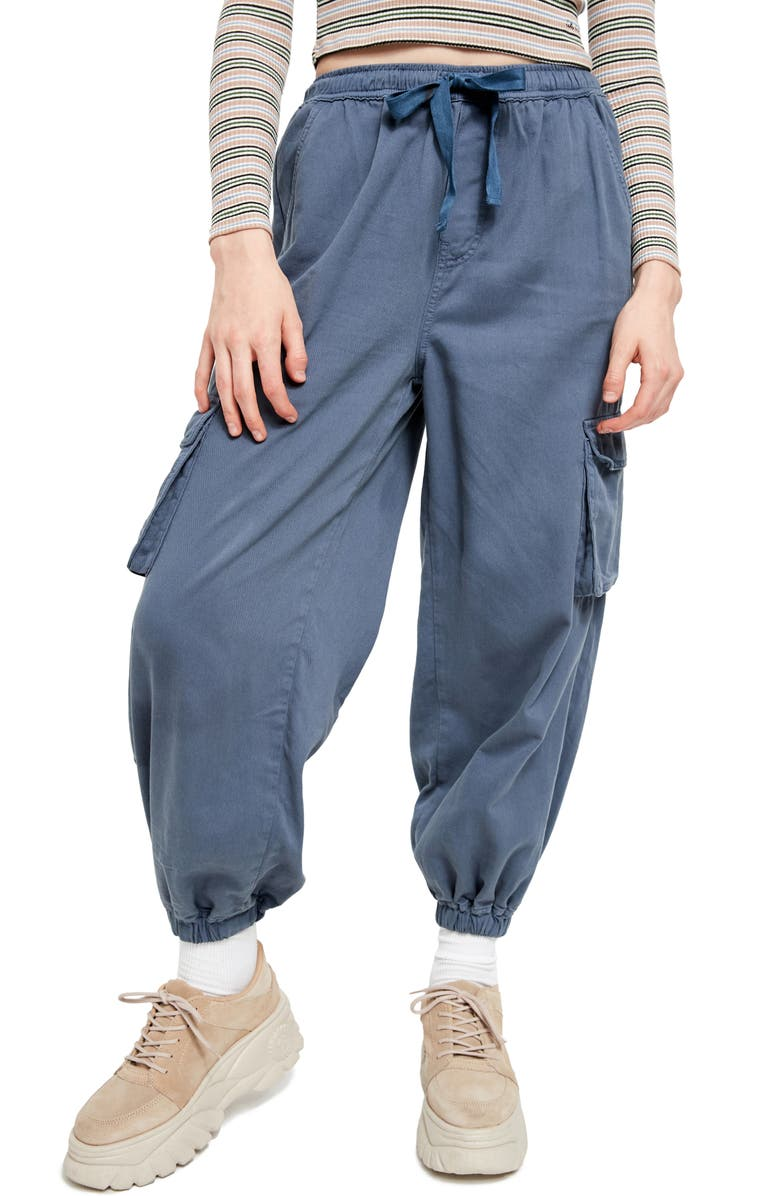 BDG URBAN OUTFITTERS Raff Elastic Cuff Cotton Cargo Pants, Main, color, MILITARY BLUE