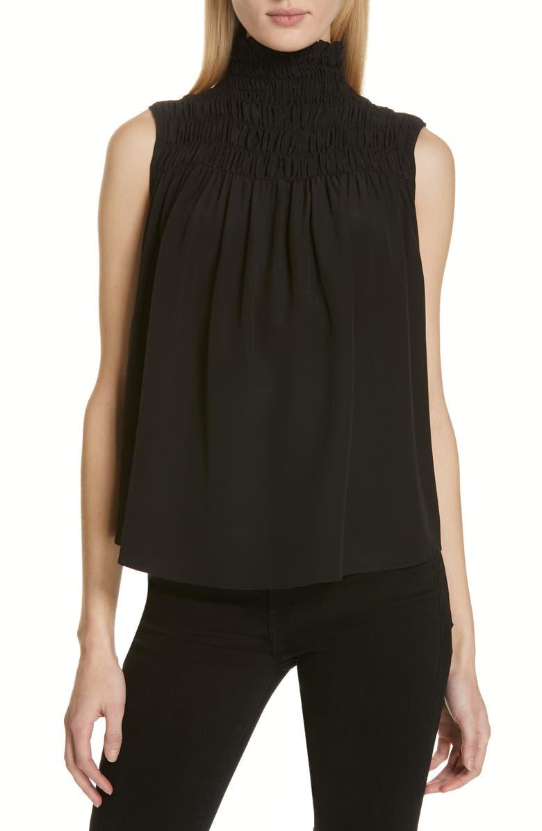 FRAME Smocked Sleeveless Silk Blouse, Main, color, NOIR
