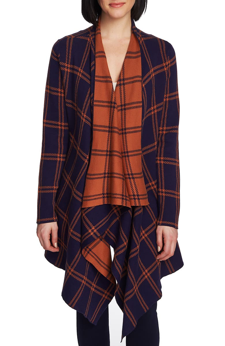 CHAUS Plaid Long Double Knit Cardigan, Main, color, EVENING NAVY