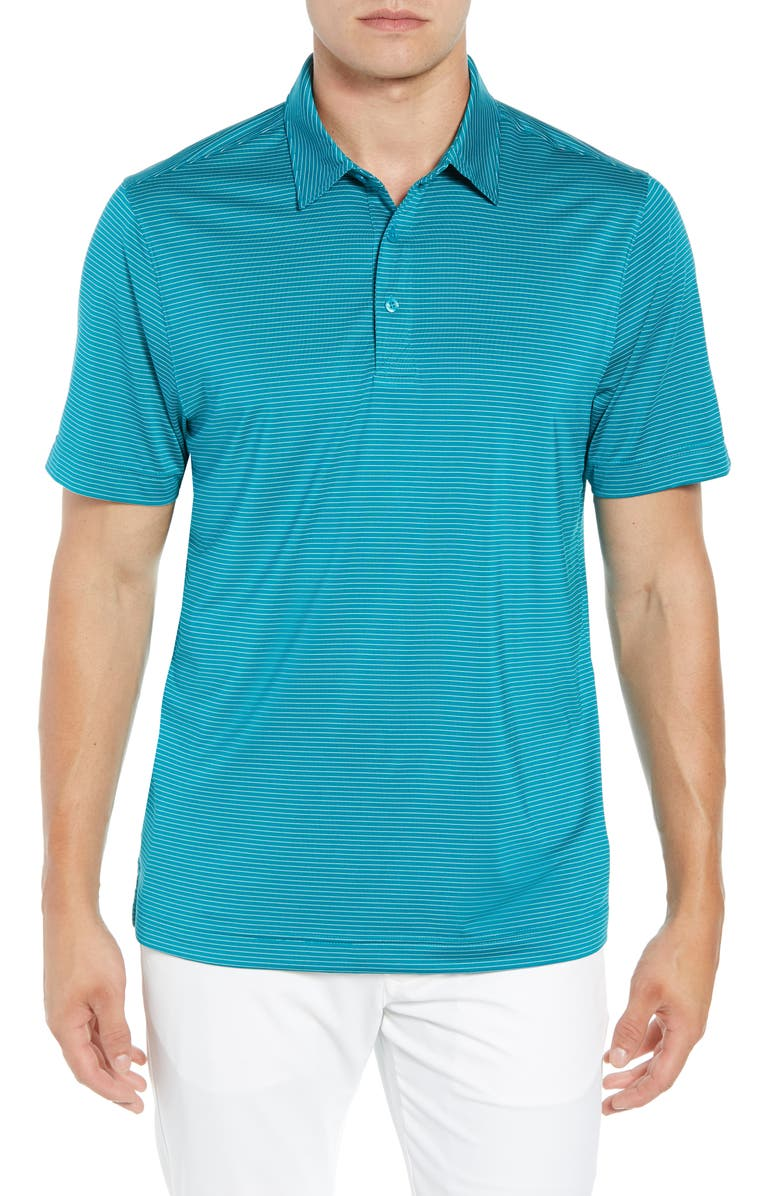 CUTTER & BUCK Prevail Regular Fit Stripe Polo, Main, color, AQUATIC