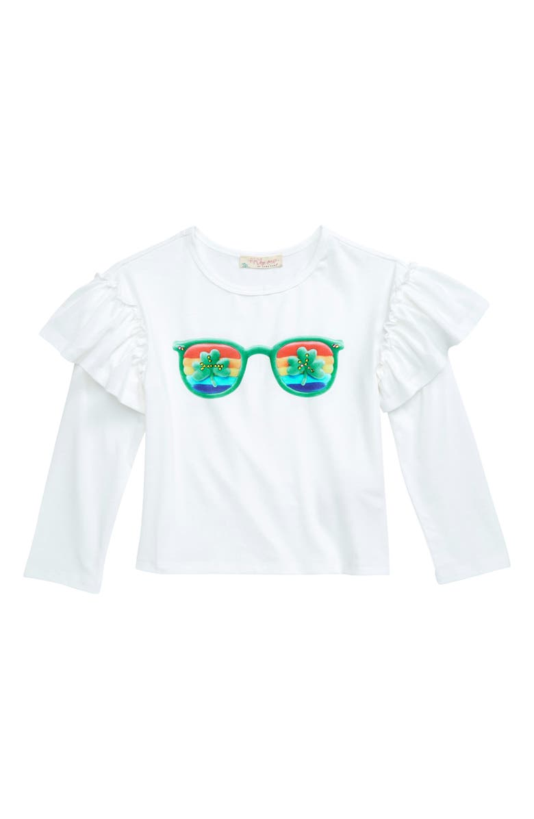 TRULY ME Sunglasses Long Sleeve Graphic Tee, Main, color, OFF WHITE MULTI