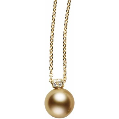 Mikimoto Diamond & Golden South Sea Cultured Pearl Pendant Necklace
