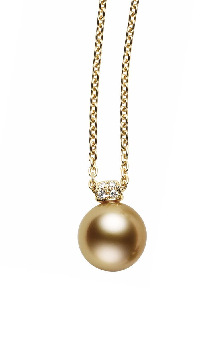 MIKIMOTO Diamond & Golden South Sea Cultured Pearl Pendant Necklace, Main, color, YELLOW GOLD/ GOLDEN PEARL