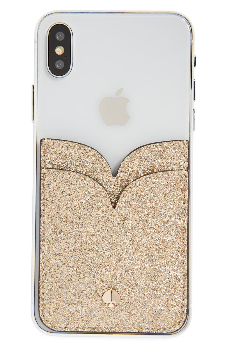 KATE SPADE NEW YORK glitter double sticker phone pocket, Main, color, 710