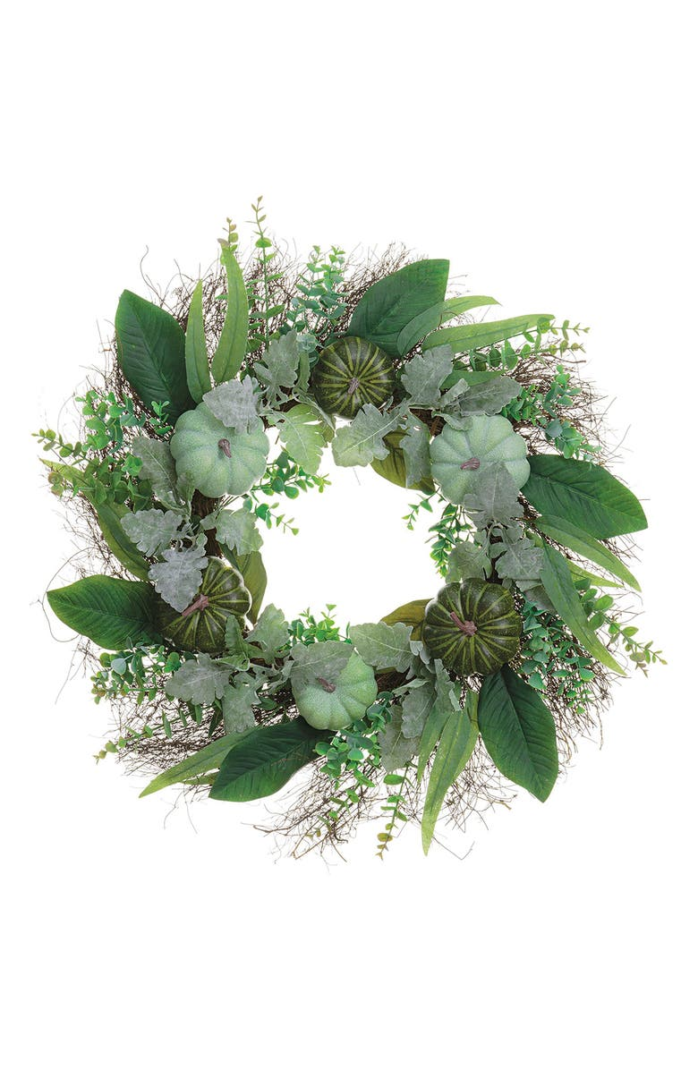 ALLSTATE Eucalyptus & Pumpkin Fall Wreath, Main, color, GREEN TWO TONE
