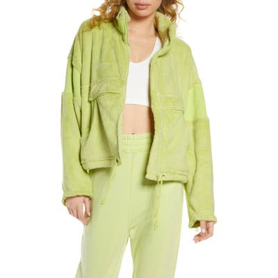 Free People Fp Movement Seeing Stars Fleece Full Zip Jacket, Green
