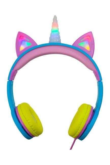 Image of Gabba Goods Tech Accessories Rainbow Kid-Sized LED Volume Limited Unicorn Headphones