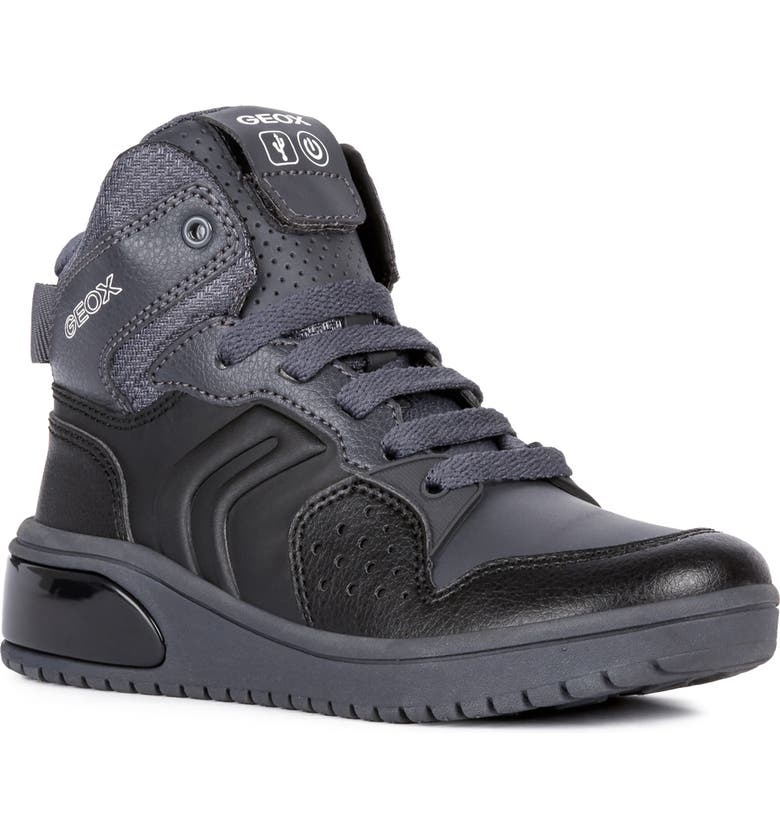 GEOX XLED Water Resistant Bluetooth<sup>®</sup> Light-Up Sneaker, Main, color, BLACK/ DARK GREY