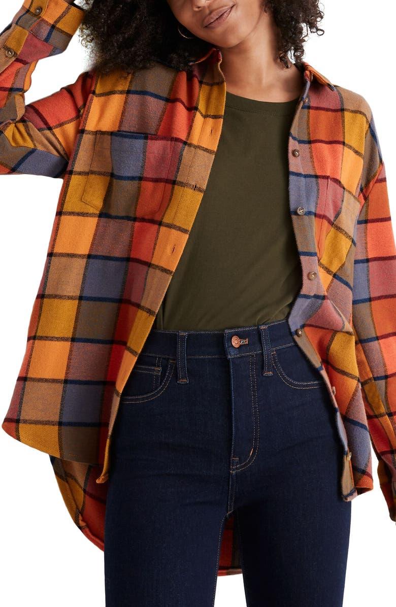 MADEWELL Emmy Plaid Flannel Sunday Shirt, Main, color, 600