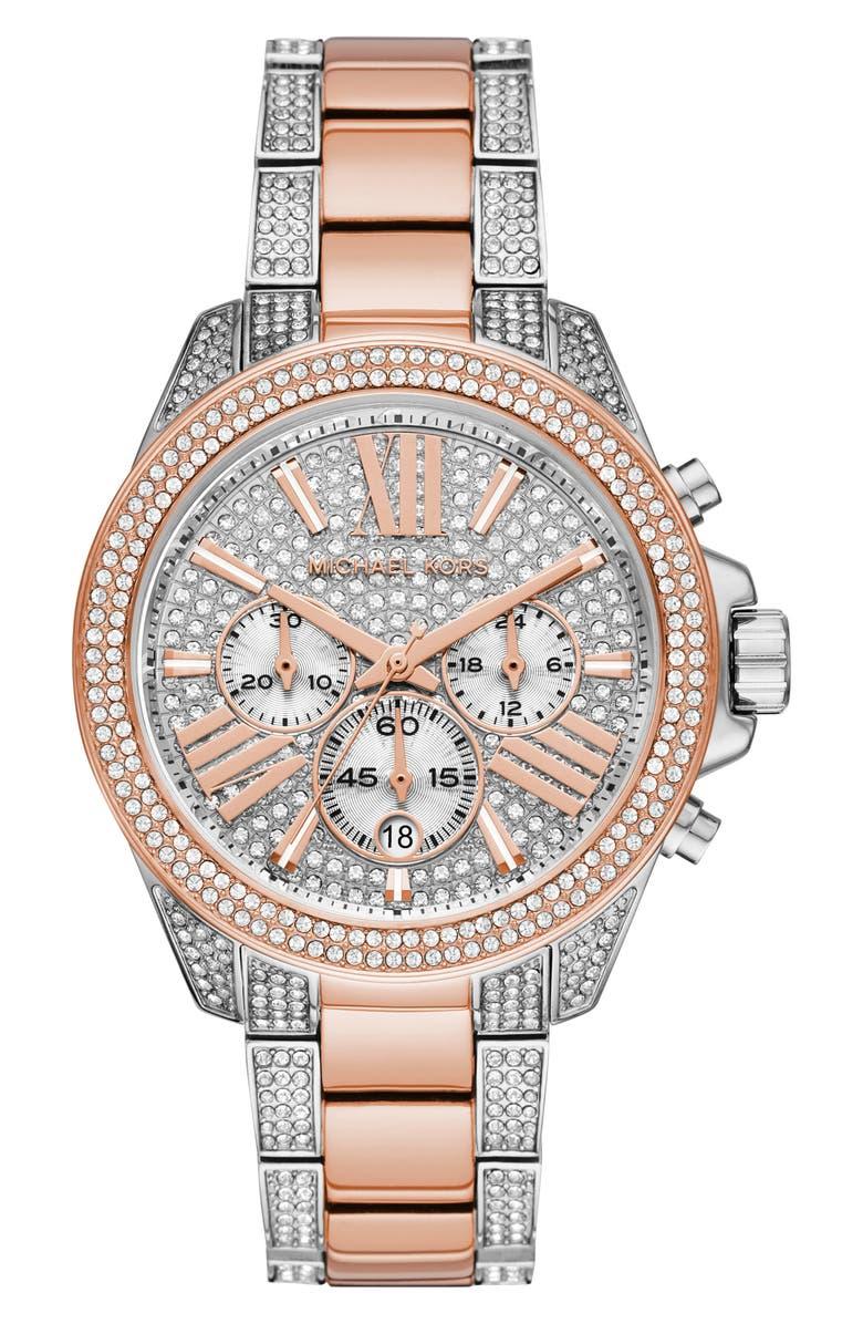 MICHAEL MICHAEL KORS Wren Chronograph Bracelet Watch, 42mm, Main, color, ROSE GOLD/ SILVER PAVE