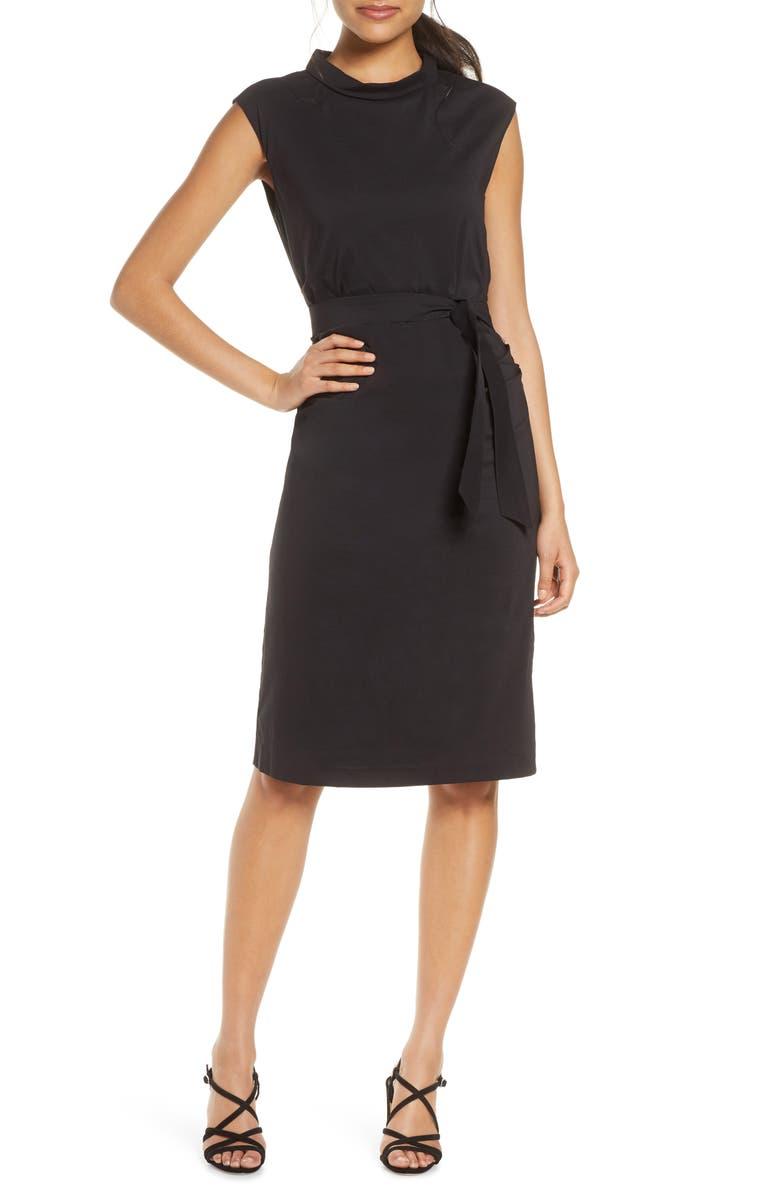 ILSE JACOBSEN Shaped Poplin Dress, Main, color, BLACK