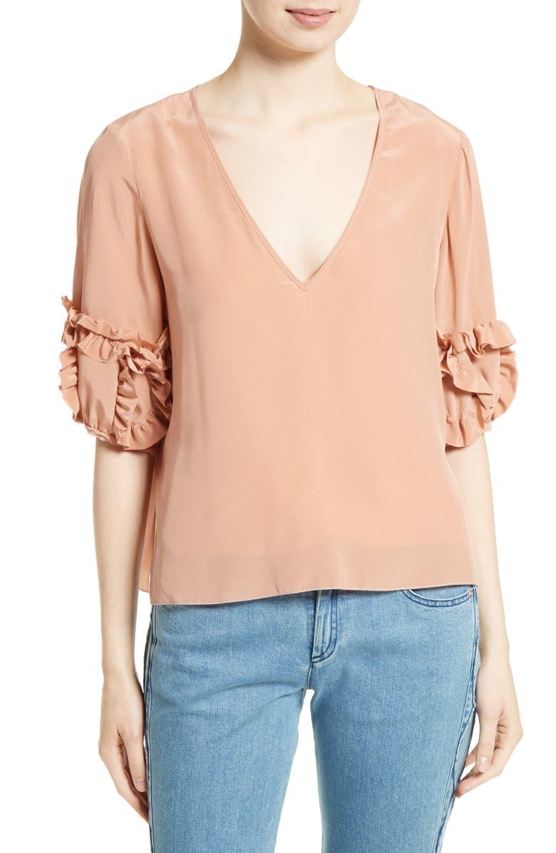 SEE BY CHLOÉ Ruffle Sleeve Silk Top, Main, color, 260
