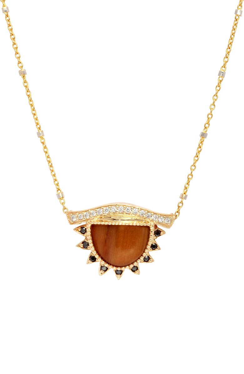 CONGÉS 'Provide a Calm & Clearer Vision' Small Third Eye Necklace, Main, color, YELLOW GOLD