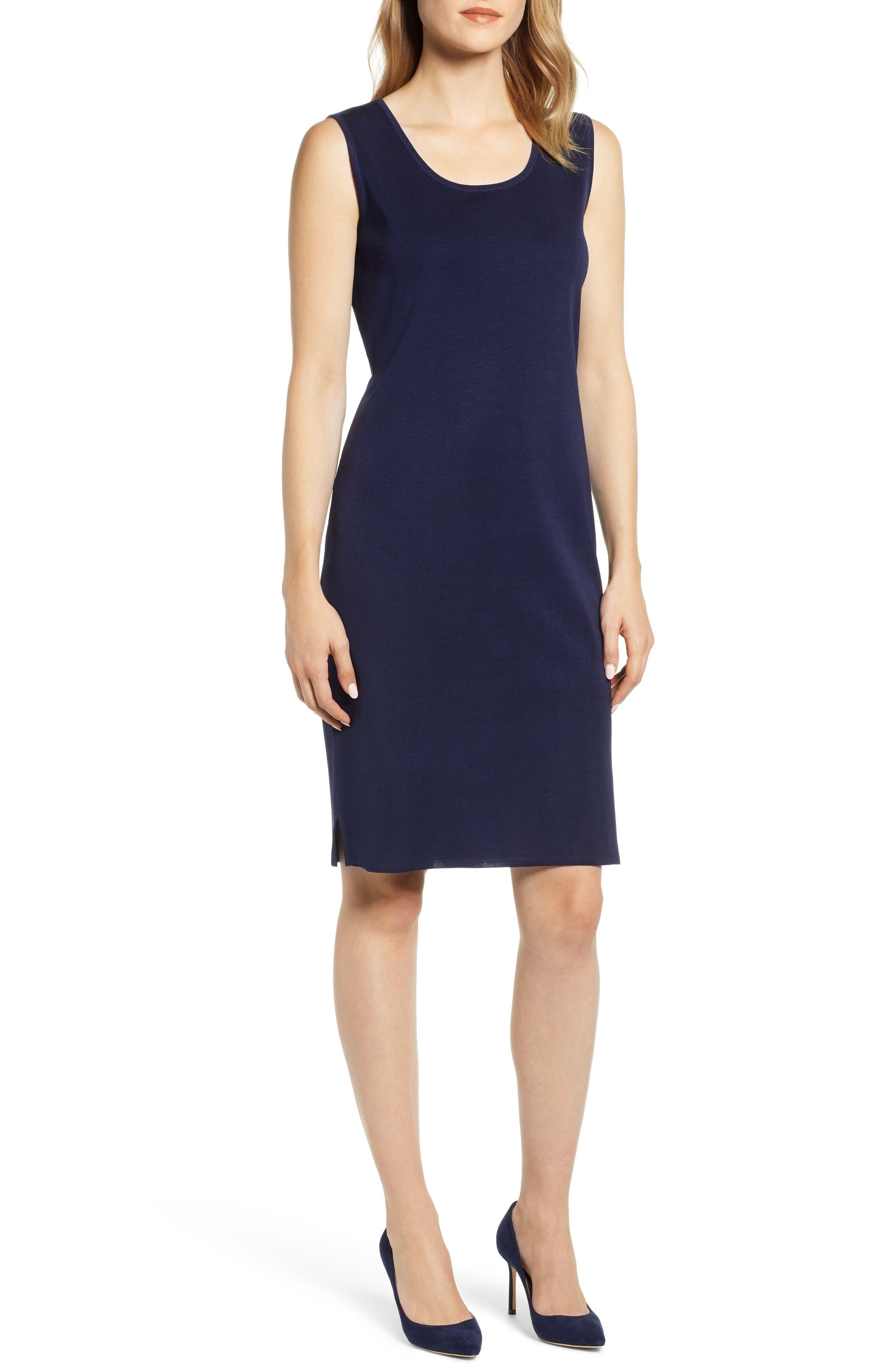 Ming Wang Knit Tank Dress, Blue