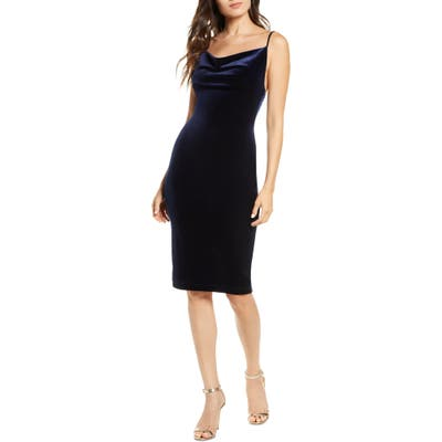 Lulus Jazzy Belle Cowl Neck Velvet Cocktail Dress, Blue