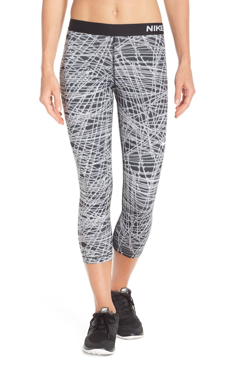 NIKE 'Pro - Cool Tracer' Print Capris, Main, color, 010