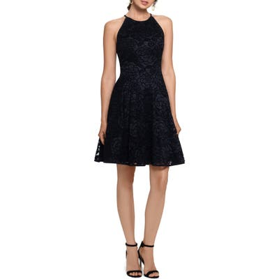 Xscape Lace Fit & Flare Cocktail Dress, Black