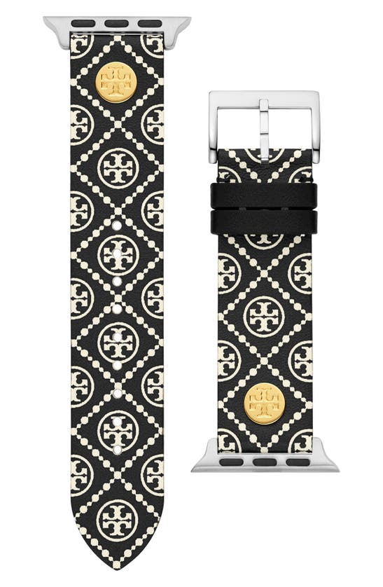 Tory Burch THE MONOGRAM PRINT LEATHER STRAP FOR APPLE WATCH, 38MM/40MM