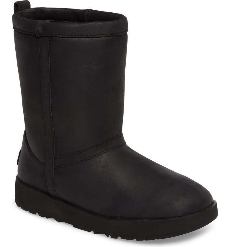 UGG<SUP>®</SUP> Classic Short Waterproof Boot, Main, color, BLACK LEATHER