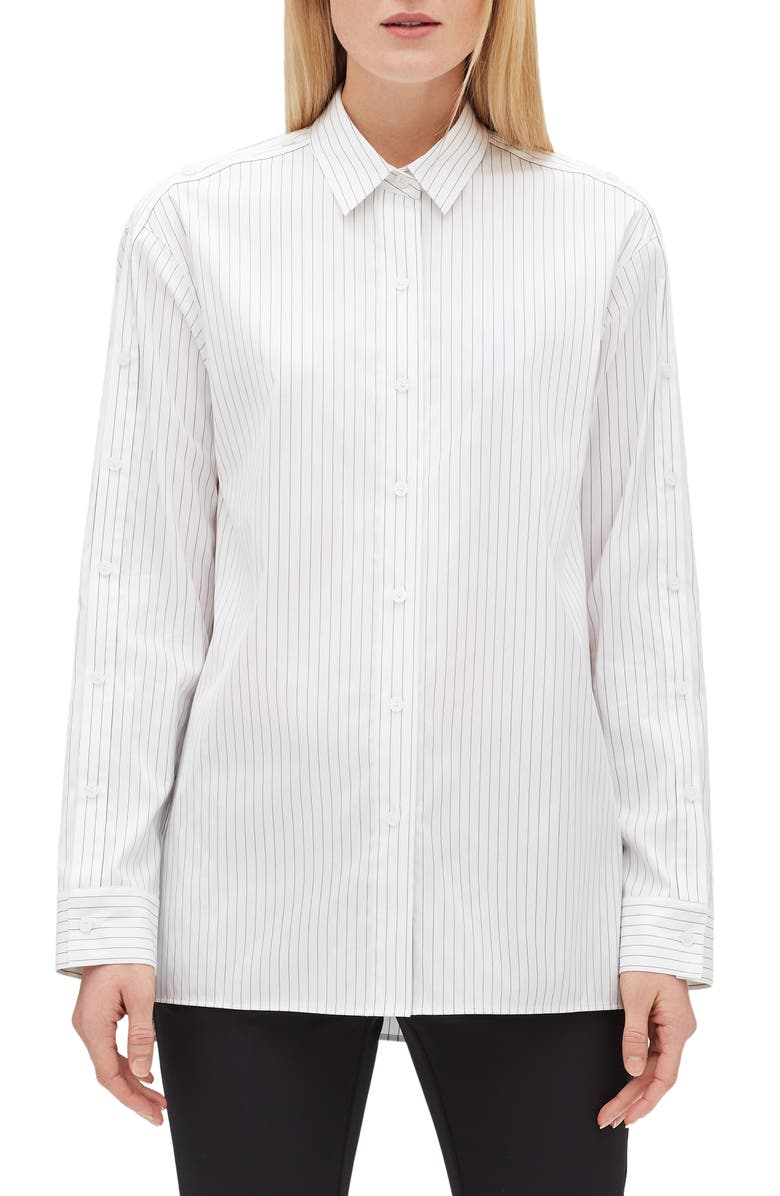 LAFAYETTE 148 NEW YORK Trinity Stanford Stripe Shirt, Main, color, 001