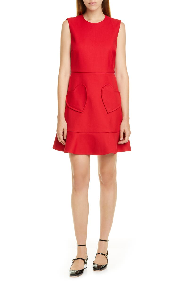 RED VALENTINO Heart Pocket Minidress, Main, color, DEEP RED