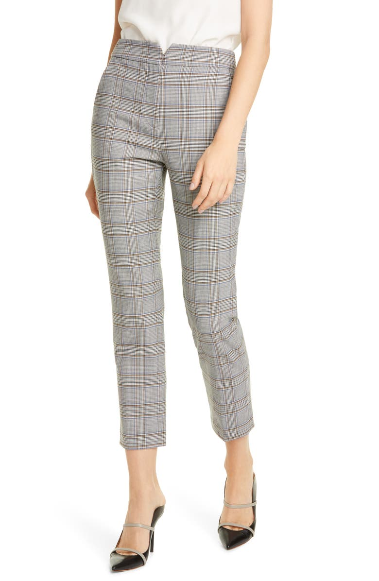 TAILORED BY REBECCA TAYLOR Plaid Suiting Trousers, Main, color, ROBINS EGG COMBO