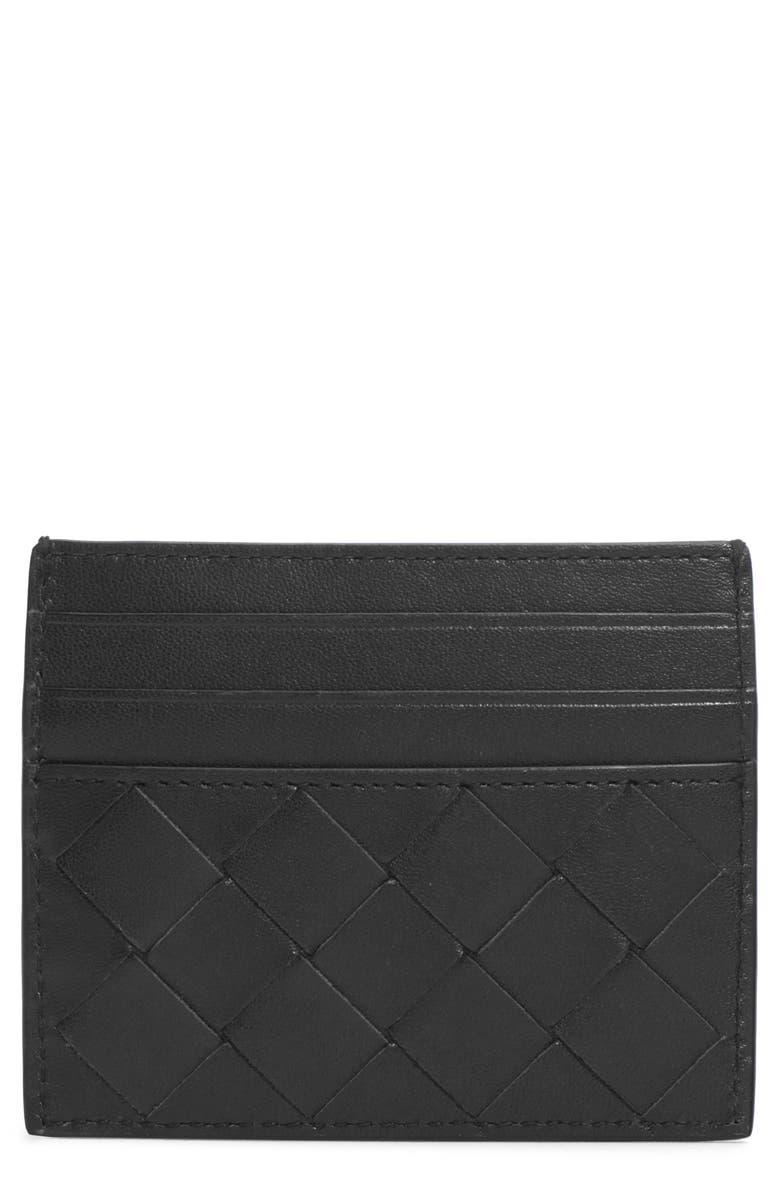 BOTTEGA VENETA Intrecciato Leather Card Case, Main, color, NERO/ SILVER