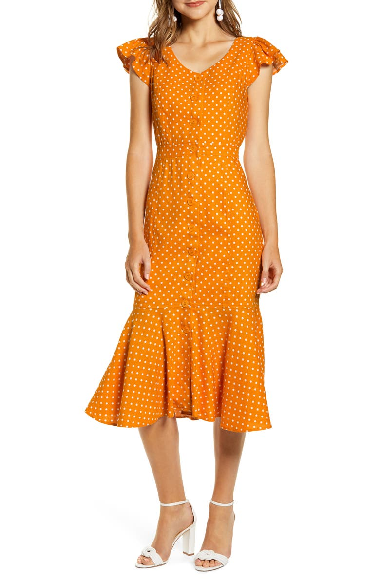 RACHEL PARCELL Button Down Midi Dress, Main, color, ORANGE CITRUS DOT