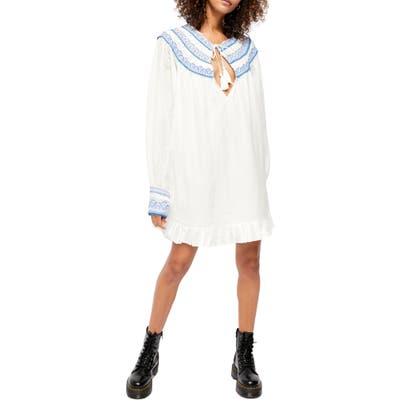 Free People Erin Embroidered Long Sleeve Minidress, White