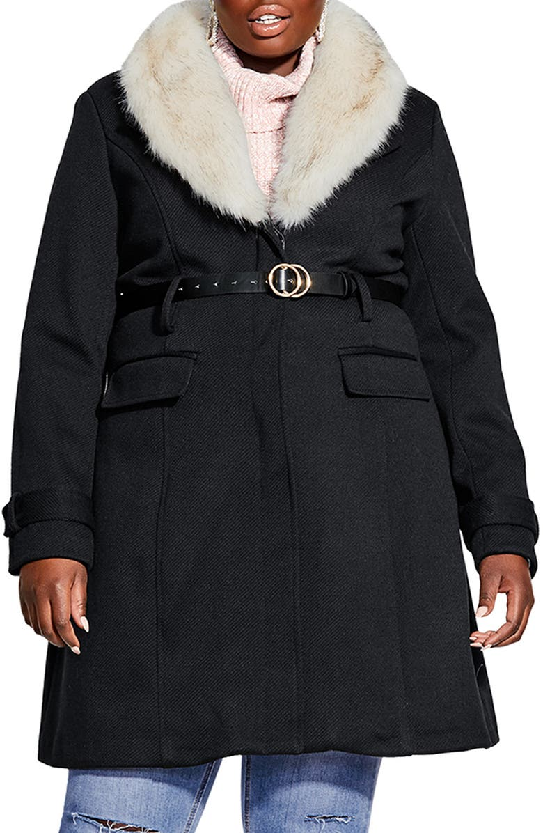 CITY CHIC Belted Jacket with Faux Fur Collar, Main, color, BLACK