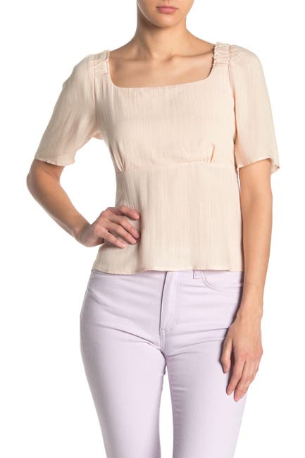 Image of Elodie Square Neck Smocked Blouse
