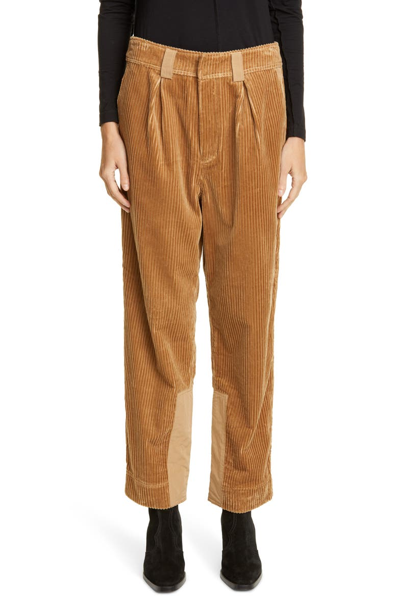 GANNI Tiger's-Eye Corduroy Trousers, Main, color, TIGERS EYE