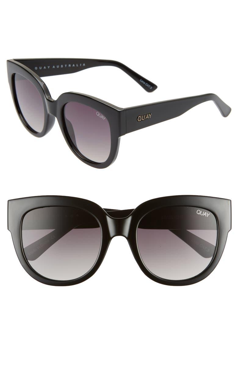 QUAY AUSTRALIA Limelight 54mm Gradient Sunglasses, Main, color, BLACK/ SMOKE