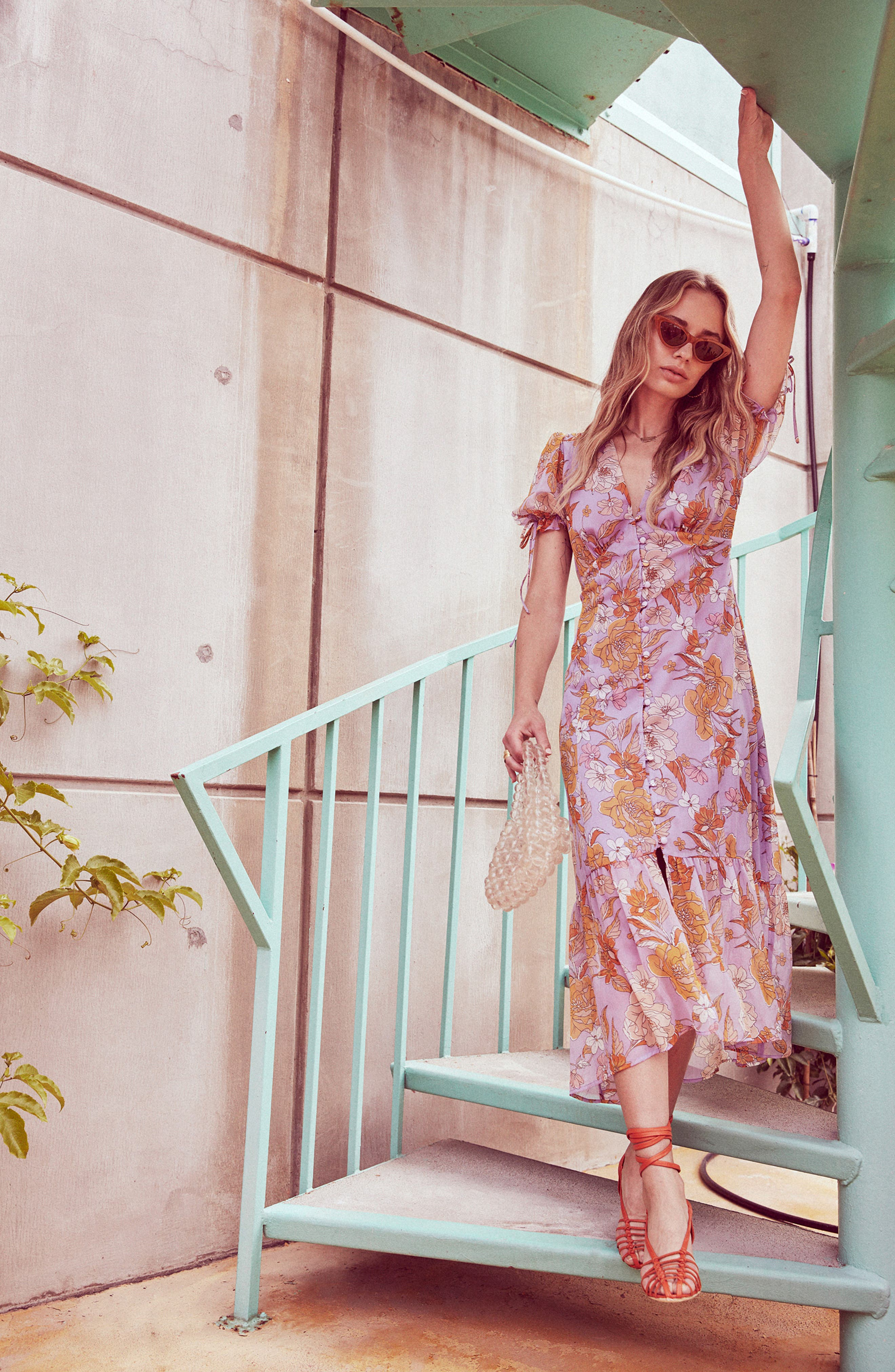 ,                             Chandler Floral Dress,                             Alternate thumbnail 7, color,                             ELECTRICAL LILAC FLORAL