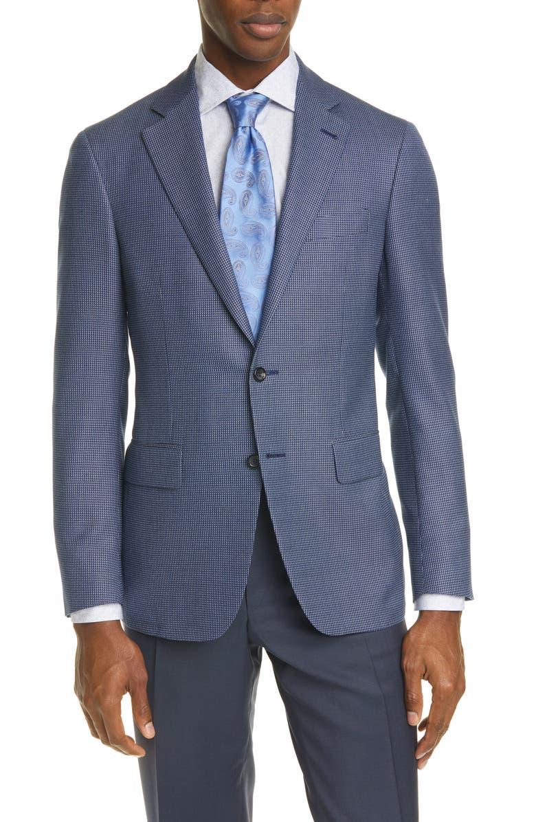 CANALI Kei Trim Fit Check Silk & Wool Sport Coat, Main, color, BLUE