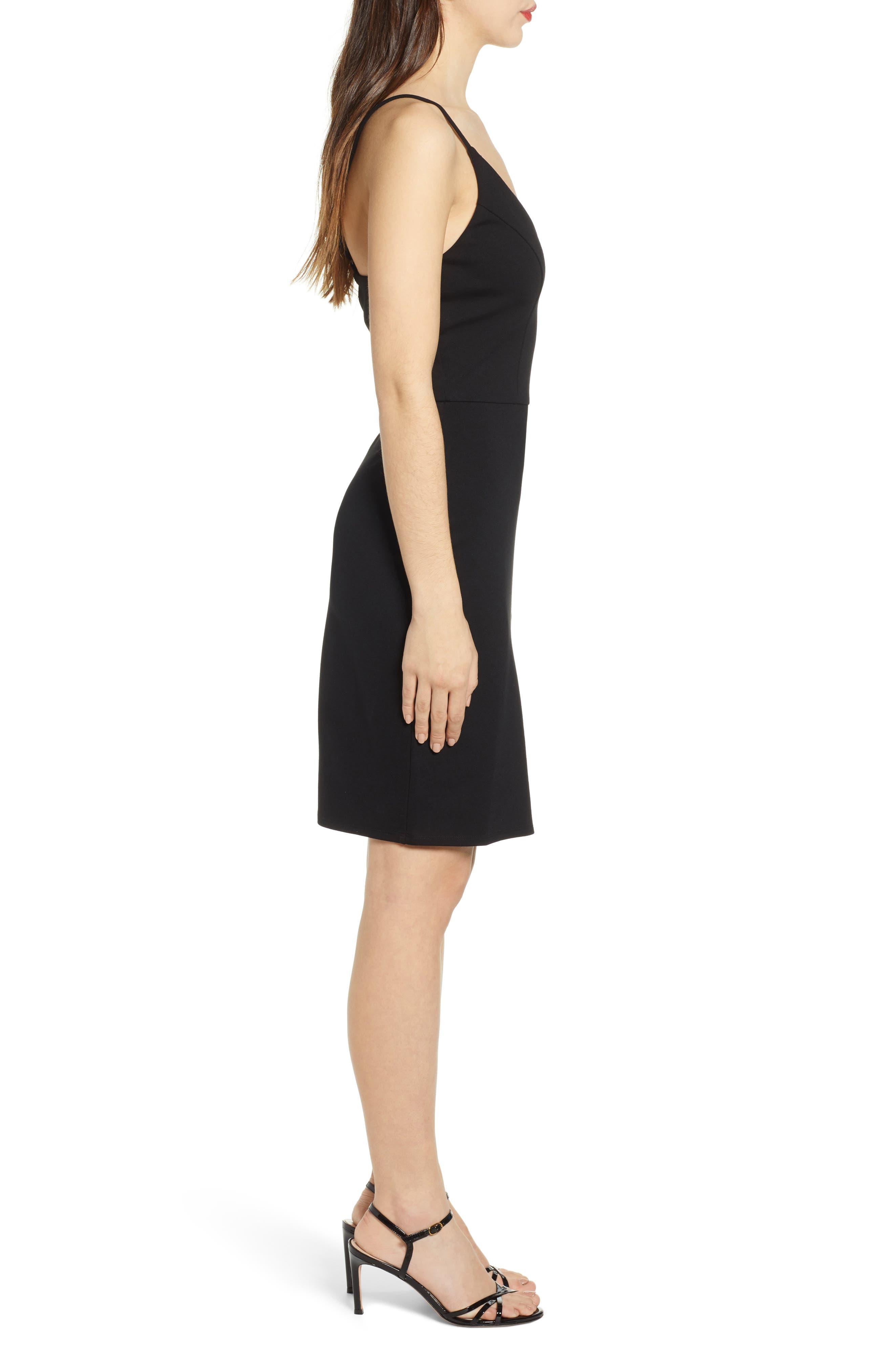 ,                             V-Neck Body-Con Dress,                             Alternate thumbnail 3, color,                             BLACK