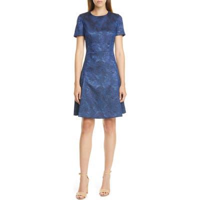 Boss Dargy Jacquard Short Sleeve A-Line Dress, Blue