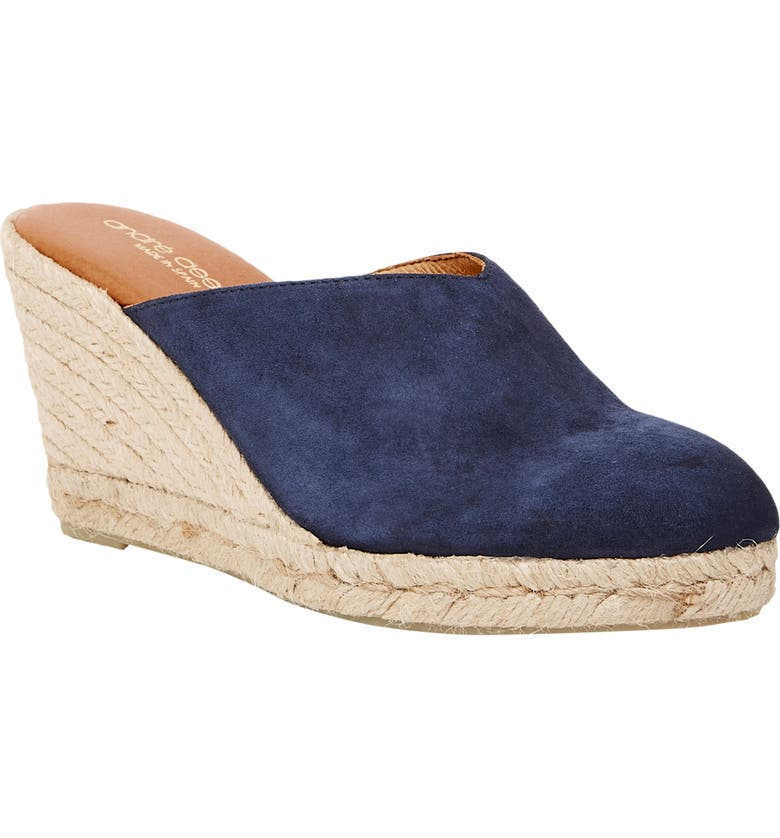 ANDRÉ ASSOUS Romy Wedge Mule, Main, color, NAVY FABRIC
