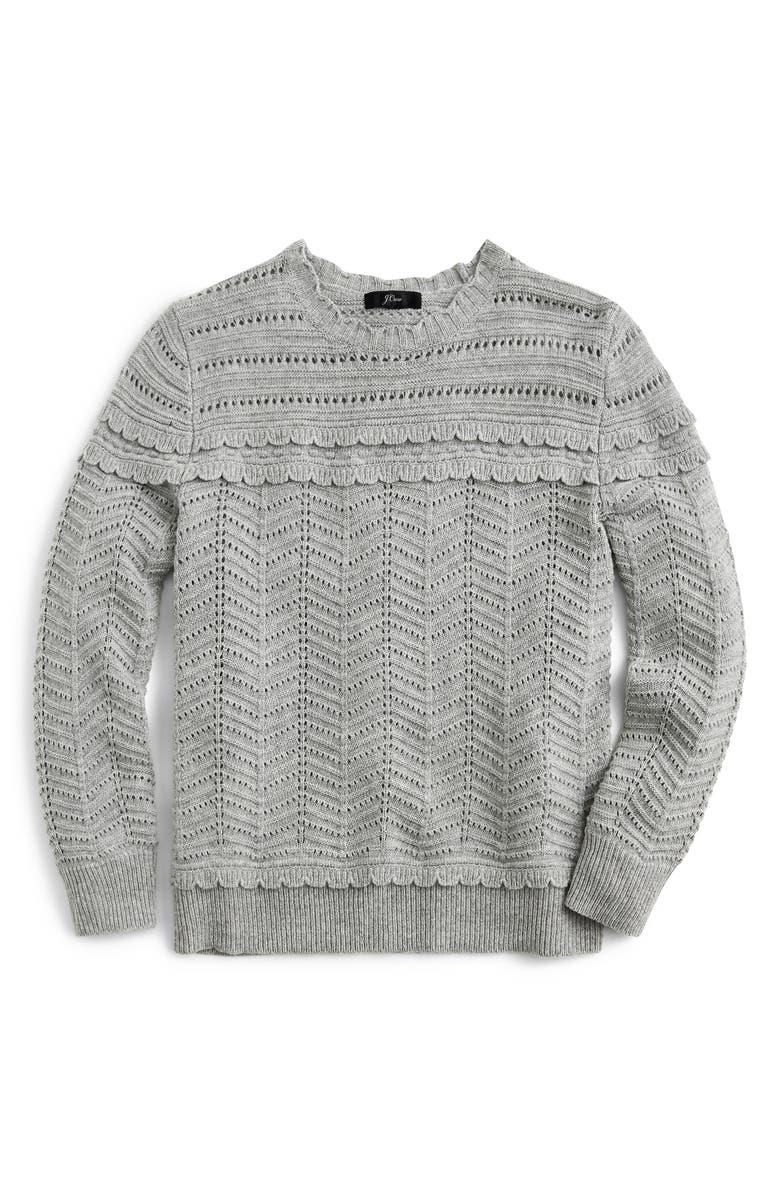 J.CREW Crewneck Scalloped Pointelle Sweater, Main, color, HTHR GREY