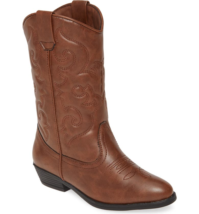 TUCKER + TATE Cowboy Boot, Main, color, BROWN FAUX LEATHER