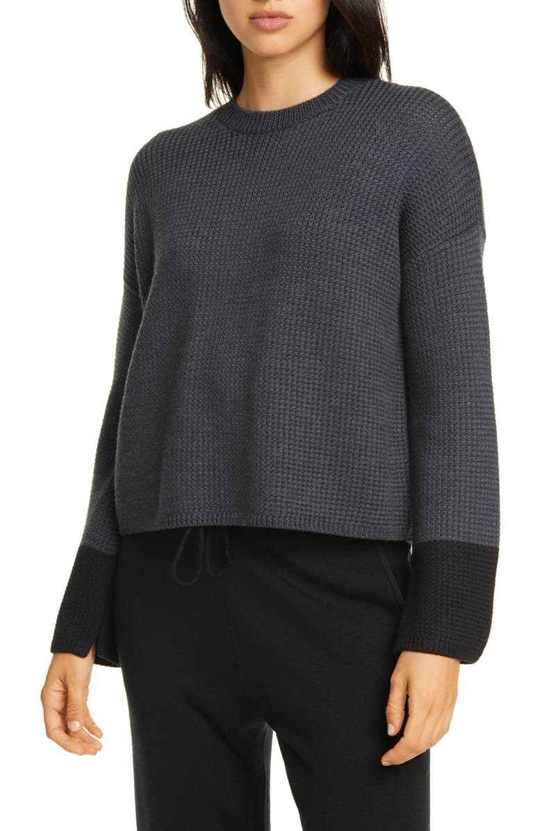 EILEEN FISHER Merino Wool Sweater, Main, color, CHARCOAL/ BLACK