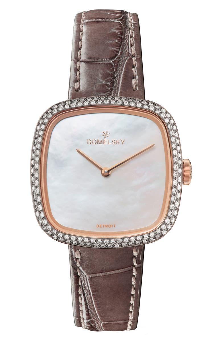 GOMELSKY The Eppie Sneed Diamond Mini Alligator Strap Watch, 32mm, Main, color, 200