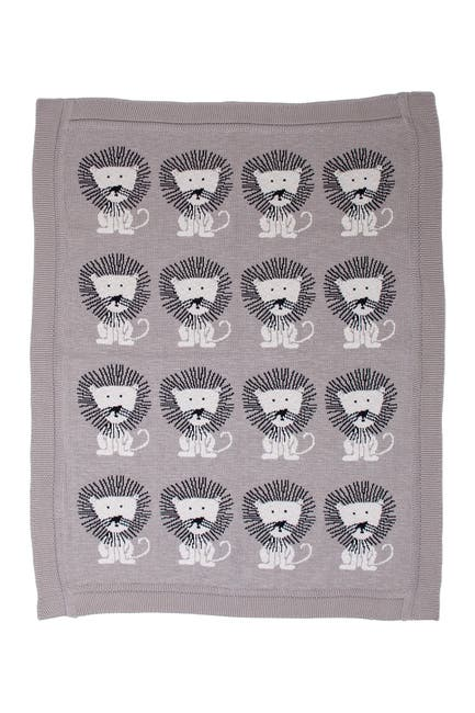 """Image of Parkland Collection Lion King Transitional Light Grey Knitted 32"""" x 40"""" Baby Blanket"""