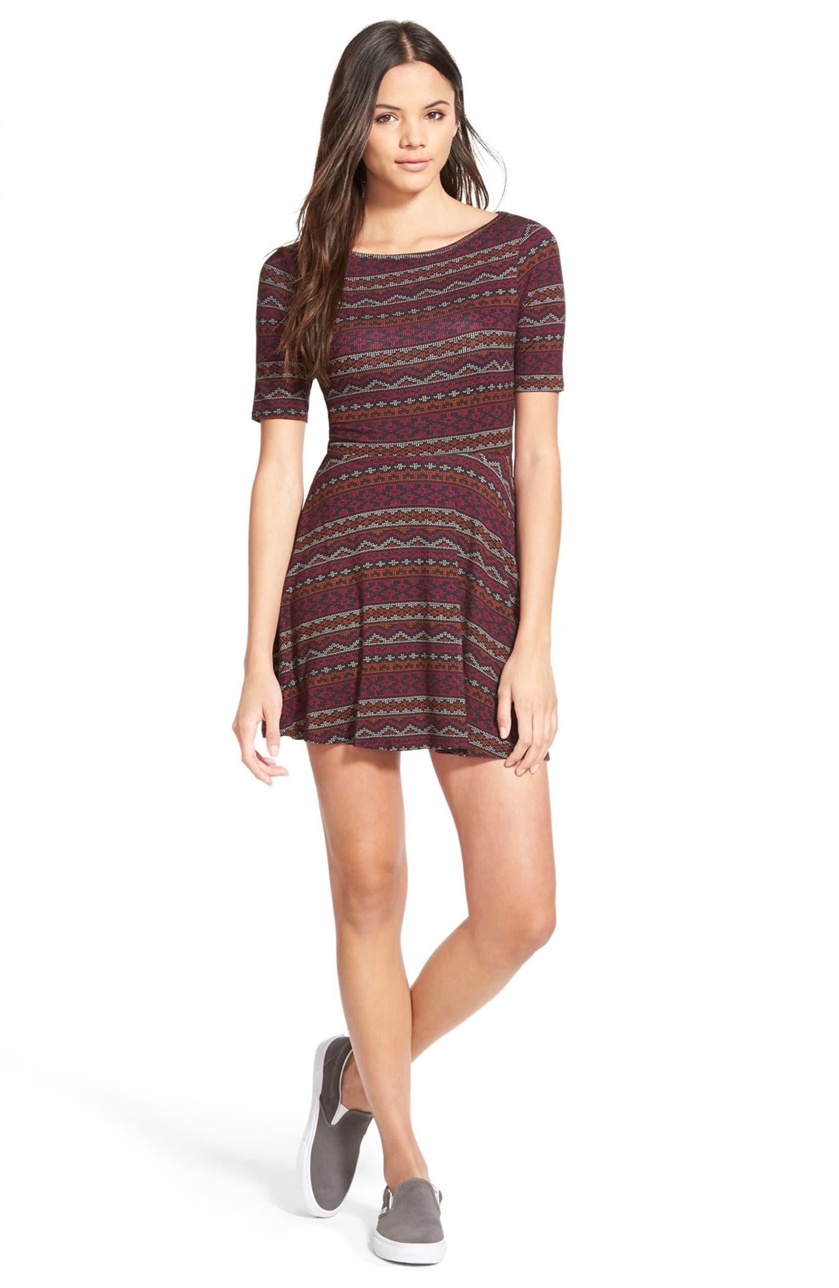 a1d8f3c1e1d0a Stripe Print Knit Skater Dress