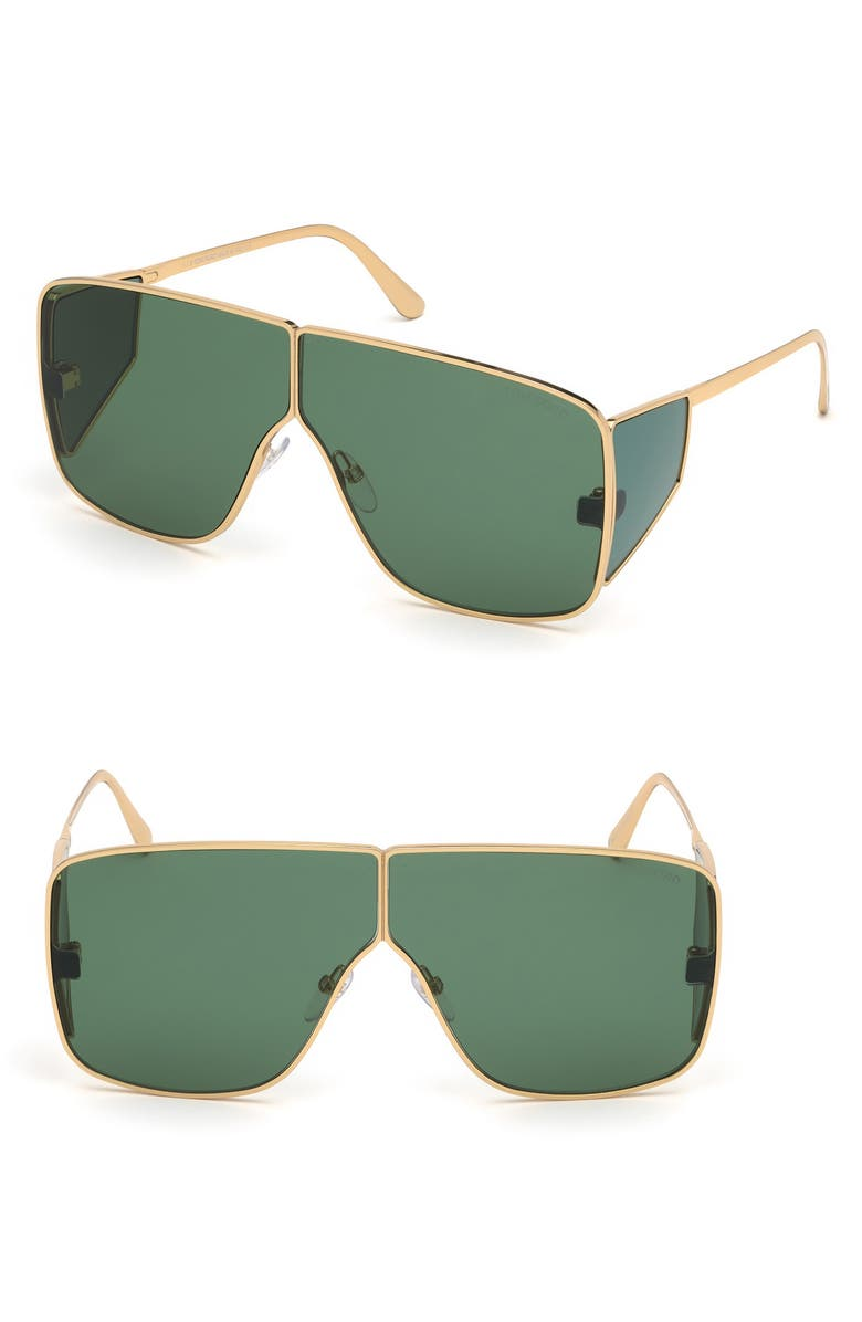 TOM FORD Spector 72mm Geometric Sunglasses, Main, color, SHINY YELLOW GOLD/ DARK GREEN