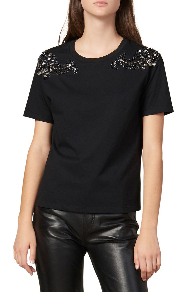 SANDRO Brody Crystal Detail Crewneck Cotton Tee, Main, color, 001