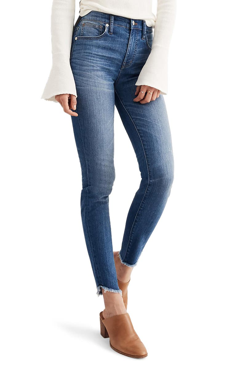 MADEWELL 10-Inch High-Rise Tulip-Hem Skinny Jeans, Main, color, 400
